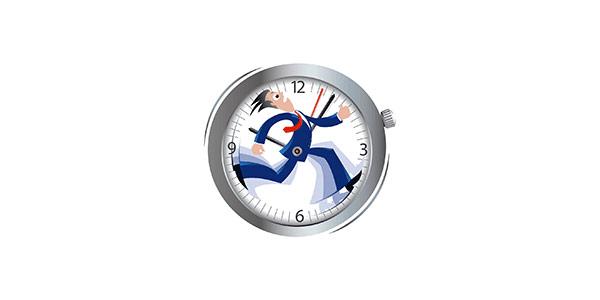 man running in clock face